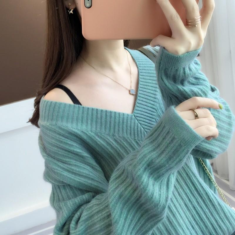 Sweater womens Pullover loose spring and autumn 2020 new long sleeve Korean V-neck lazy knitted bottoming shirt early spring top