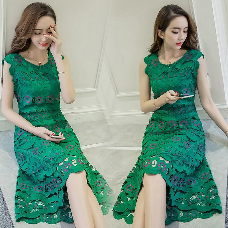 Gentle Celebrity Slim lace sleeveless fashion small fragrance dress retro first love dress temperament dress dress green