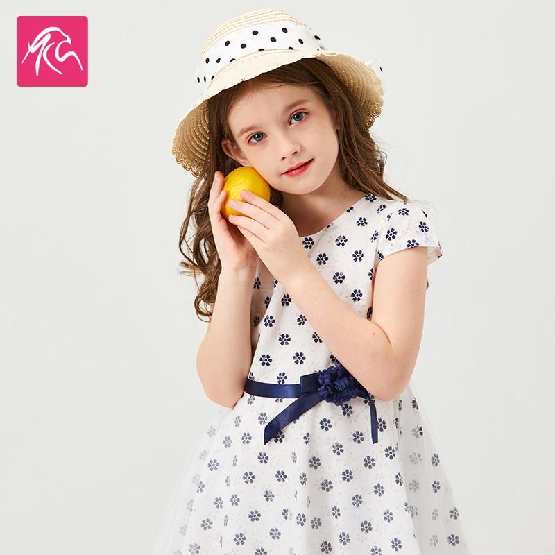 女童裙子2020夏季新款中大童甜美小清新碎花拼接女童连衣裙夏
