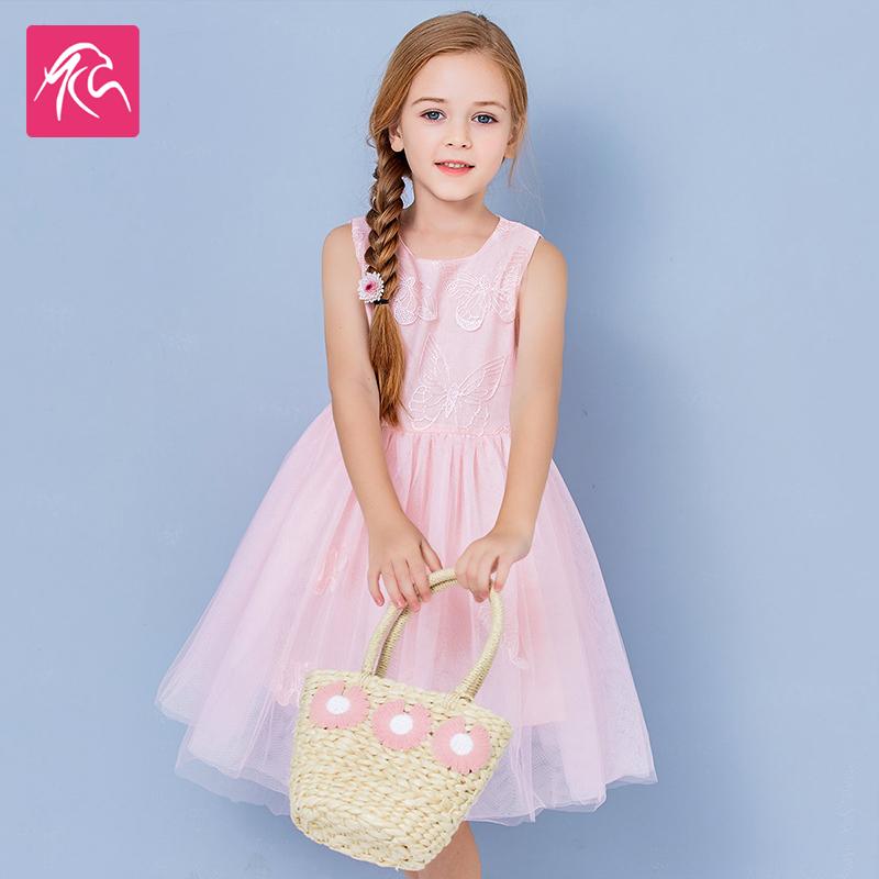女童连衣裙夏装2020新款儿童女孩洋气蝴蝶刺绣夏季公主裙童装裙子