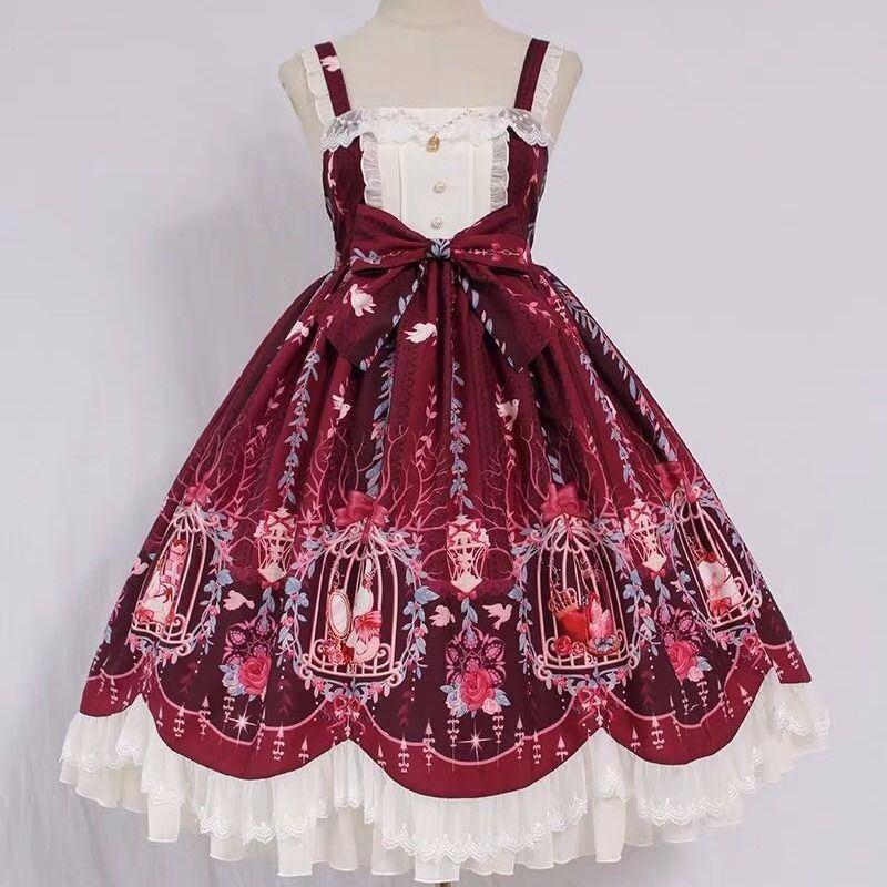 【全款+边夹】洛丽塔裙子 Lolita笼中梦珠链吊坠波浪 jsk连衣裙