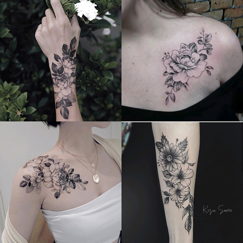 Biboya sexy big pattern flower tattoo stickers waterproof female long-lasting dark sweat-proof realistic concealer cover