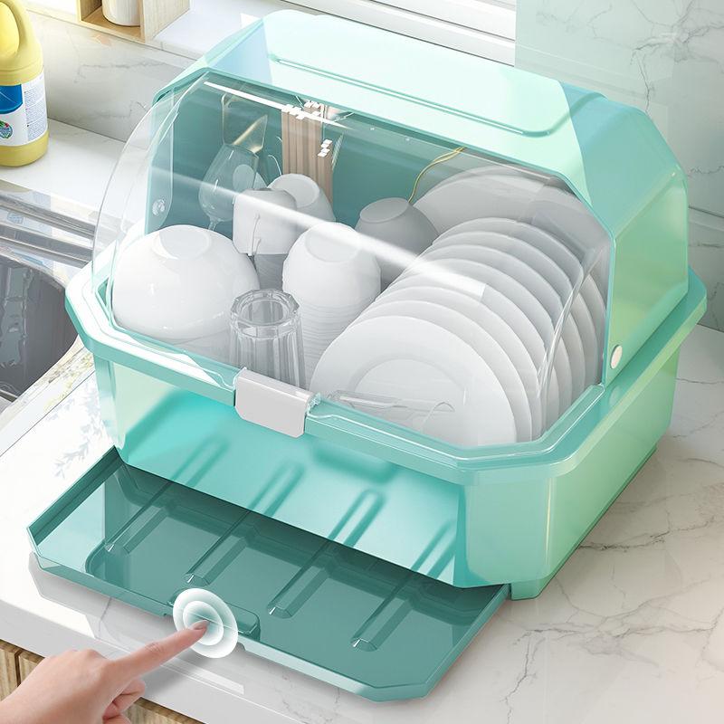 厨房碗筷收纳盒特大小号塑料碗柜抽屉式沥水碗架家用收纳箱置物架