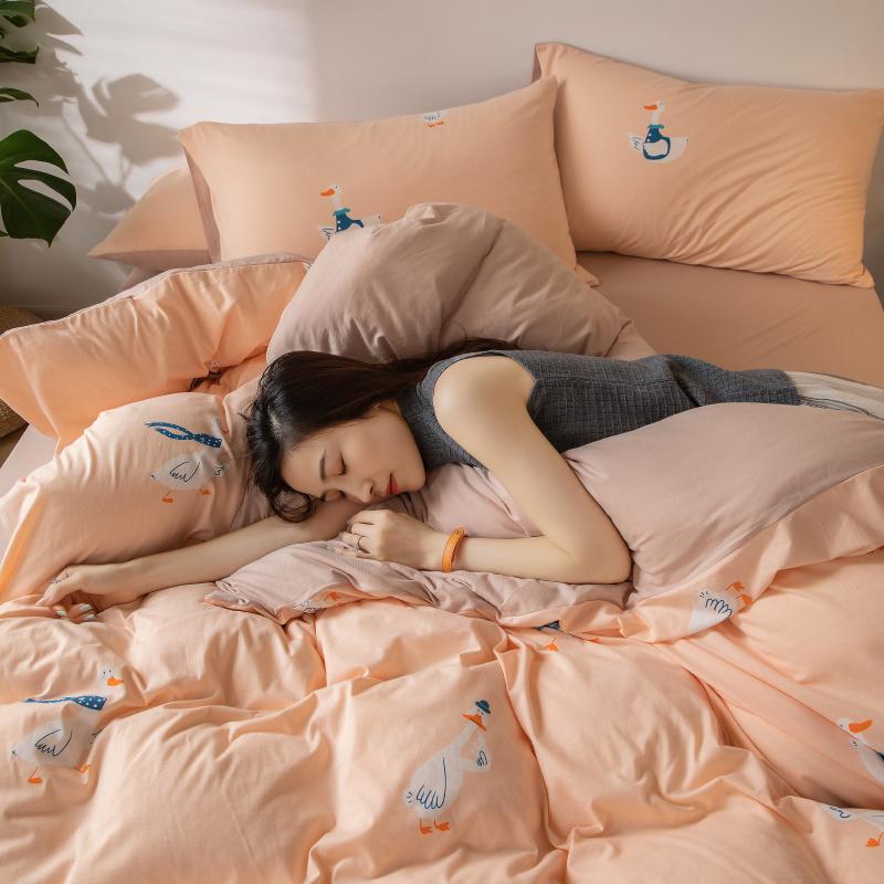 天竺棉四件套全棉纯棉裸睡针织棉床单被套学生宿舍三件套床上用品