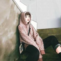 超火cec慵懒风连帽卫衣女秋冬2020新款新款韩版宽松外穿百搭上衣
