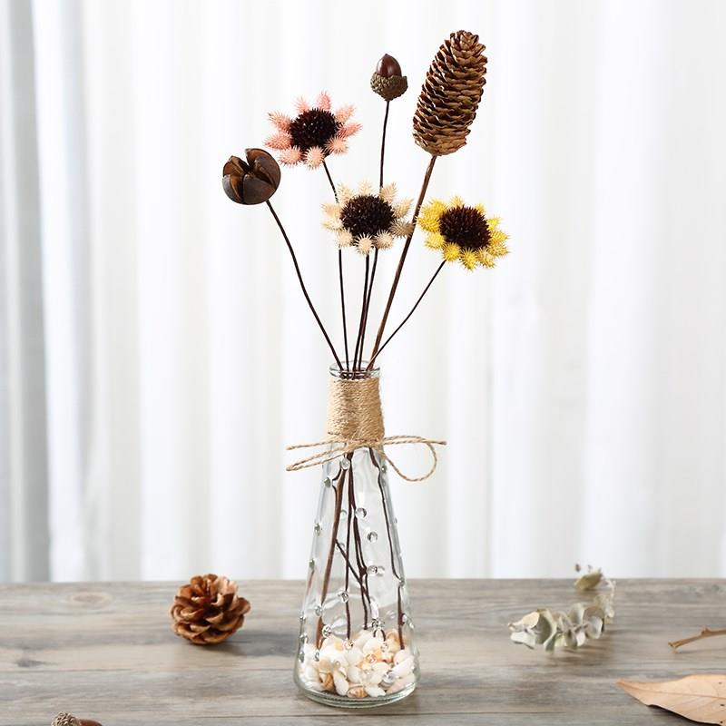 Flower bottle installation of pine cone table decoration home decoration