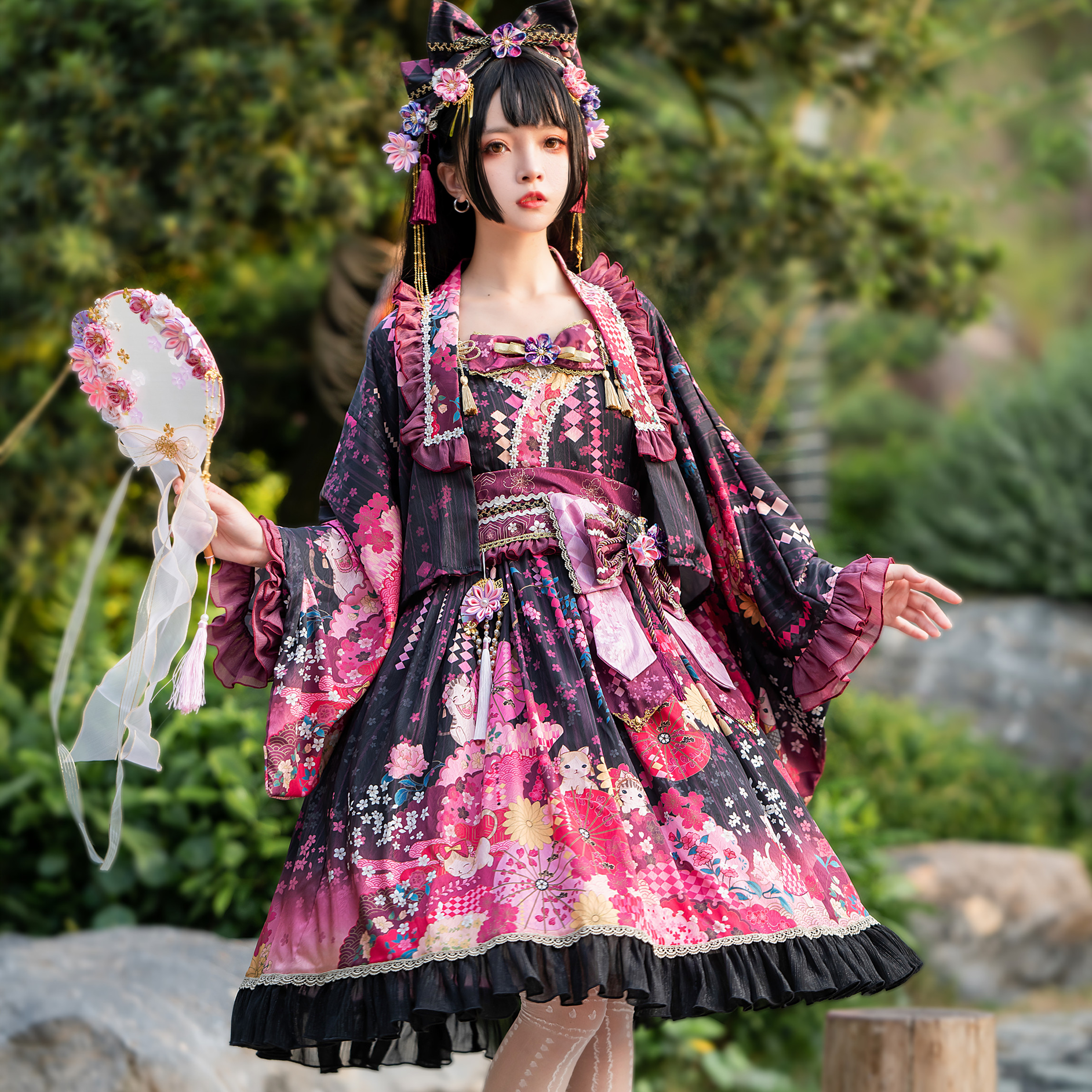 Spot on the same day, FS full waist, luoyingmaoyu Lolita and wind jsk feather weaving with Lolita