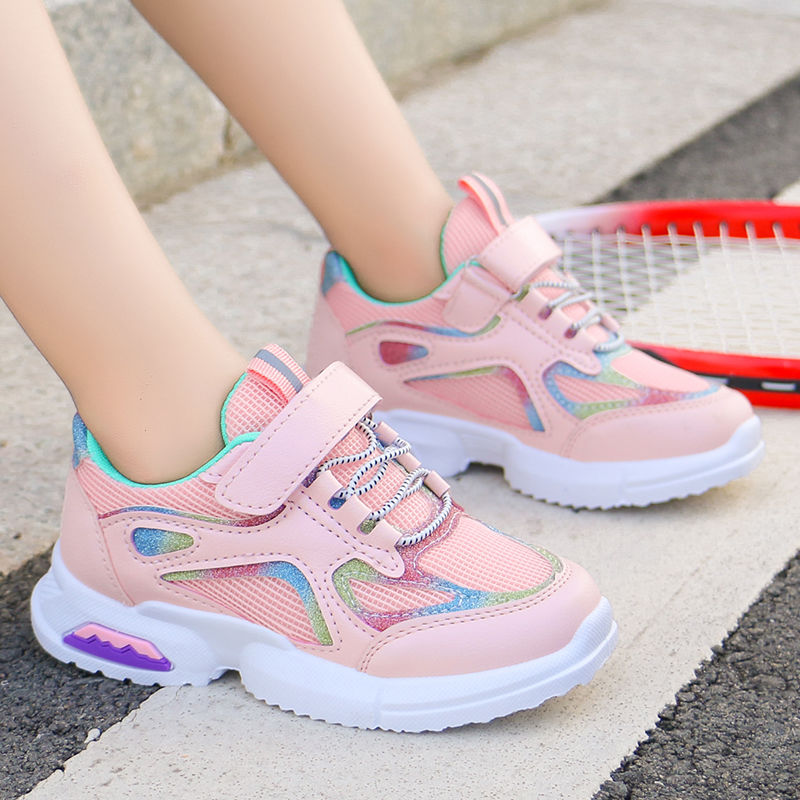 Girls sports shoes, Korean version, new fashion in spring 2020, students mesh breathable running shoes, big boys single shoe trend