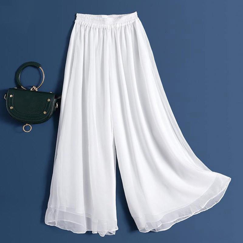 夏秋季新款休闲白色垂感雪纺阔腿裤女九分宽松大码高腰显瘦长裤裙