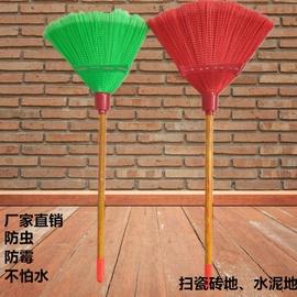 厂家直销高档新型环卫波纹丝塑料扫把木杆笤帚塑料笤帚家用笤帚扫图片