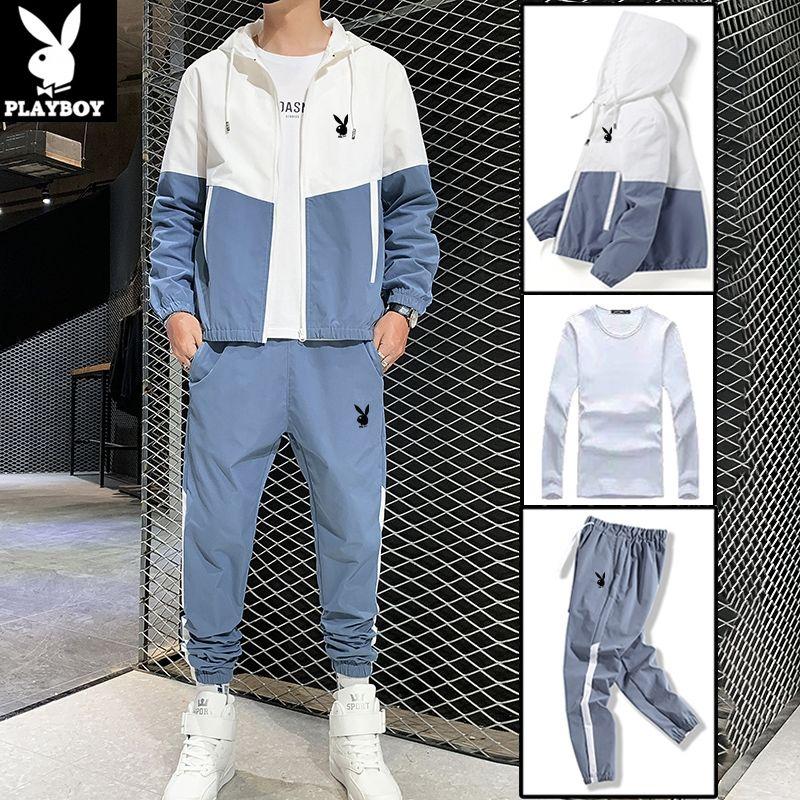 【三件套】春季休闲套装男宽松跑步户外运动套装韩版潮流