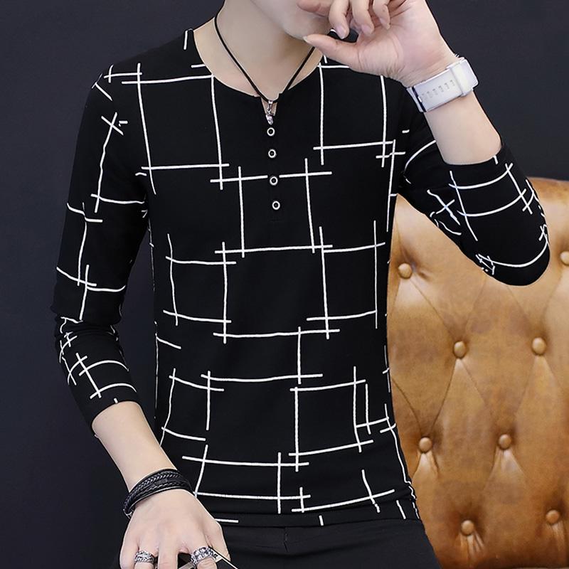 Autumn cotton long sleeve t-shirt mens Korean Trend slim bottomed Shirt Youth clothes autumn T-shirt fashion brand top