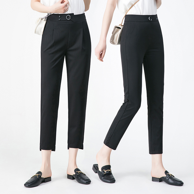Authentic brothers new Harlem pants 2020 summer womens high waist straight tube thin casual pencil nine point pants