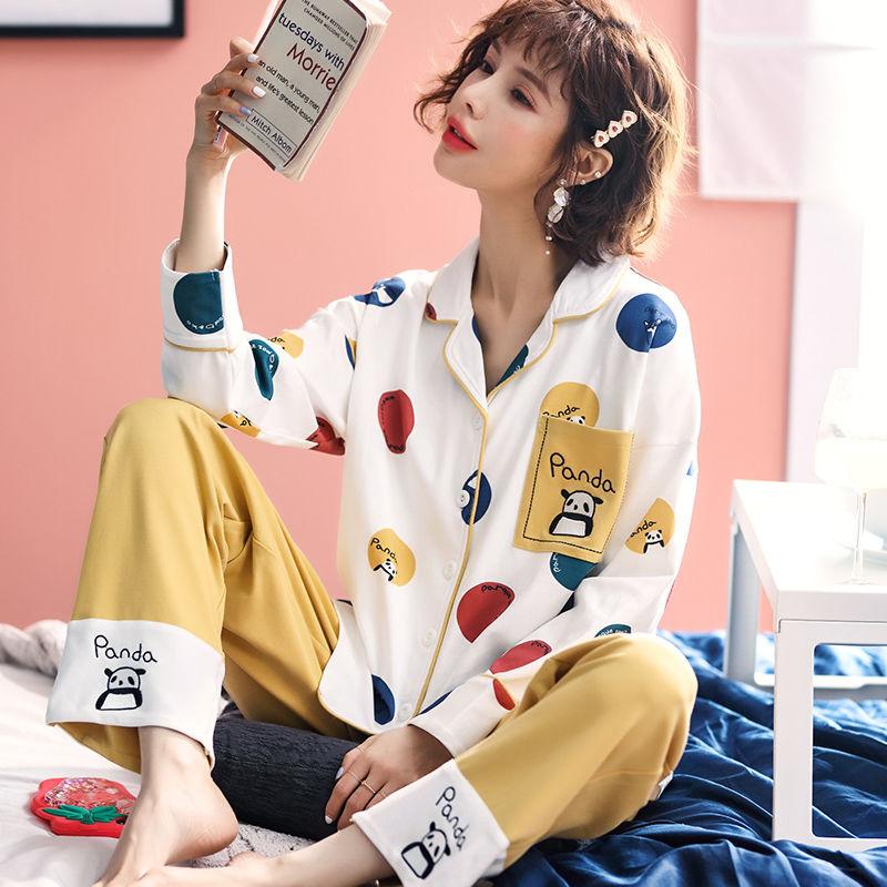 春秋季棉质睡衣女士长袖可爱卡通公主风外穿月子服家居服秋新套装