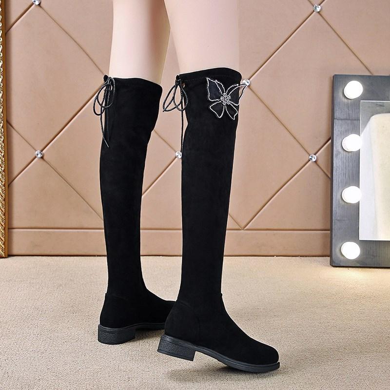 Knee high boots womens 2021 autumn and winter new girls boots flat bottomed Plush high boots girls boots