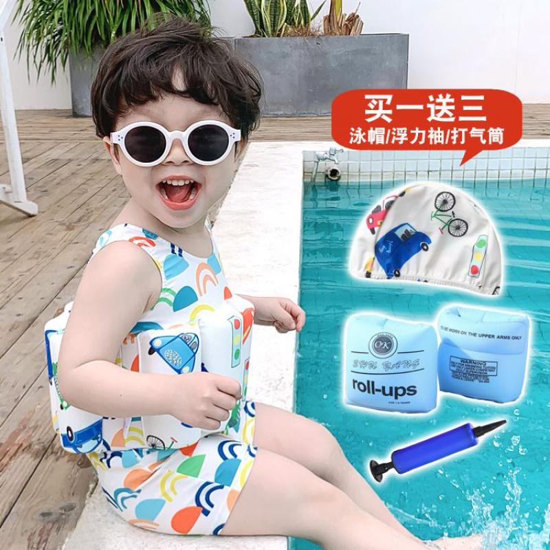 儿童泳衣女女童男童浮力泳衣小童连体温泉平角平脚宝宝浮力游泳衣