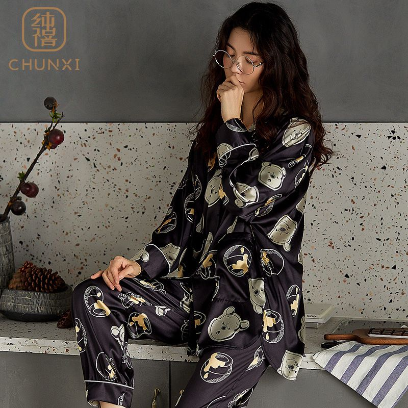 Chunxi pajamas womens spring and autumn ice silk summer lovely real silk home clothes long sleeve Korean set