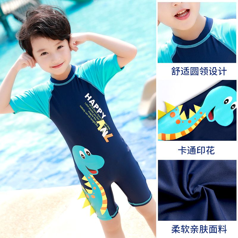 Youyou childrens Swimsuit Boys Girls one piece middle school kids long short sleeve Beach Boys cute swimsuit