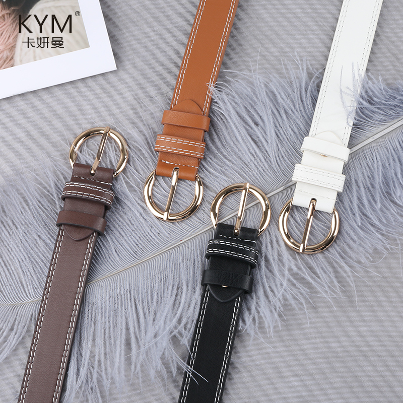 Womens belt simple and versatile jeans with girls ins Hong Kong Style Black Belt Korean fashion decoration