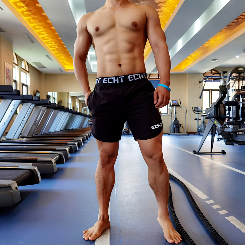 . Summer mens sports shorts three legged fitness training casual pants fast dry Breathable running loose wide waist basketball