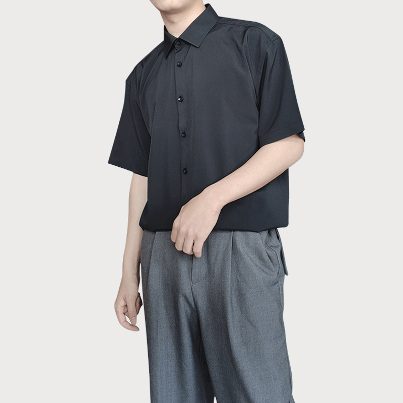 Thin casual and all-around short sleeve shirt mens Korean Trend dark ascetic no iron retro loose 5-point sleeve
