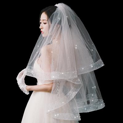 新娘结婚主婚纱头纱超仙森系网红拍照道具闪闪珍珠头纱头饰女