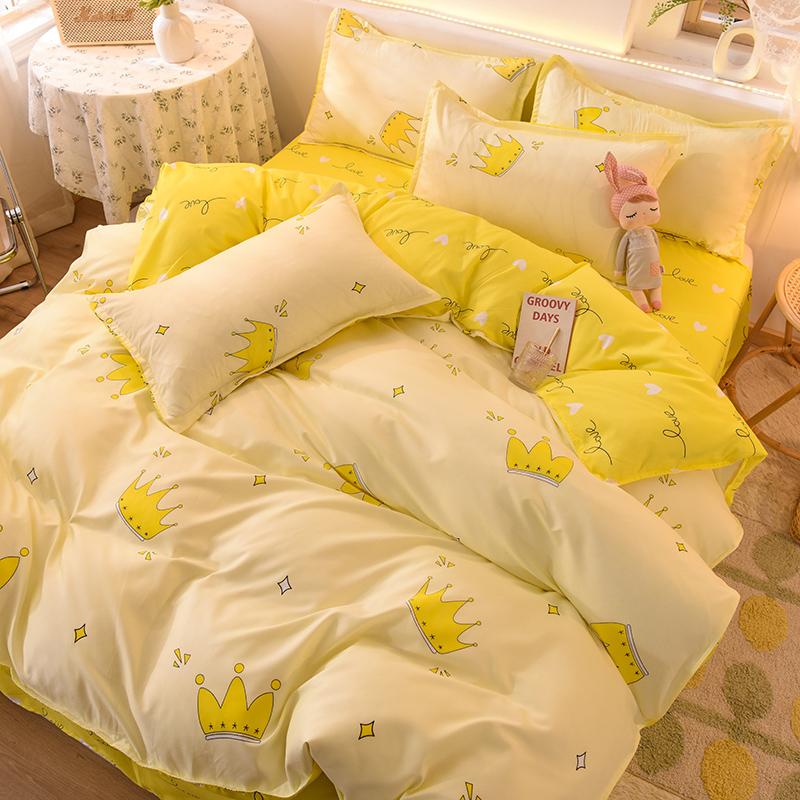 水洗棉四件套床上用品宿舍单人学生磨毛被单床单被套被子三件套4