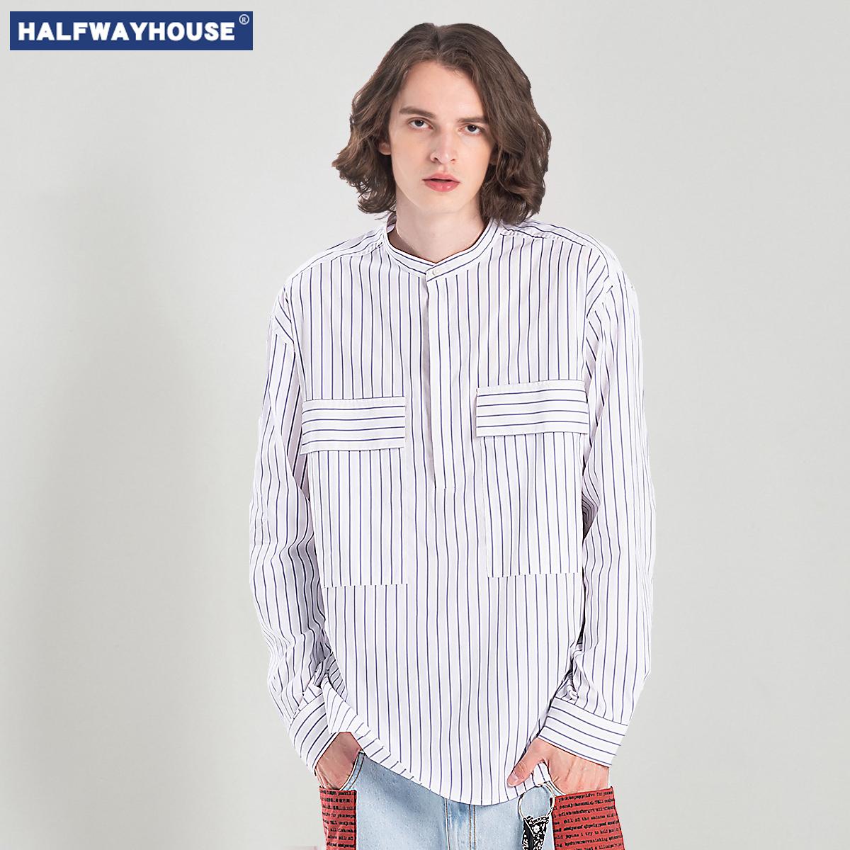 HalfwayHouse衬衫男长袖韩版 潮流条纹白色男士衬衣帅气休闲百搭