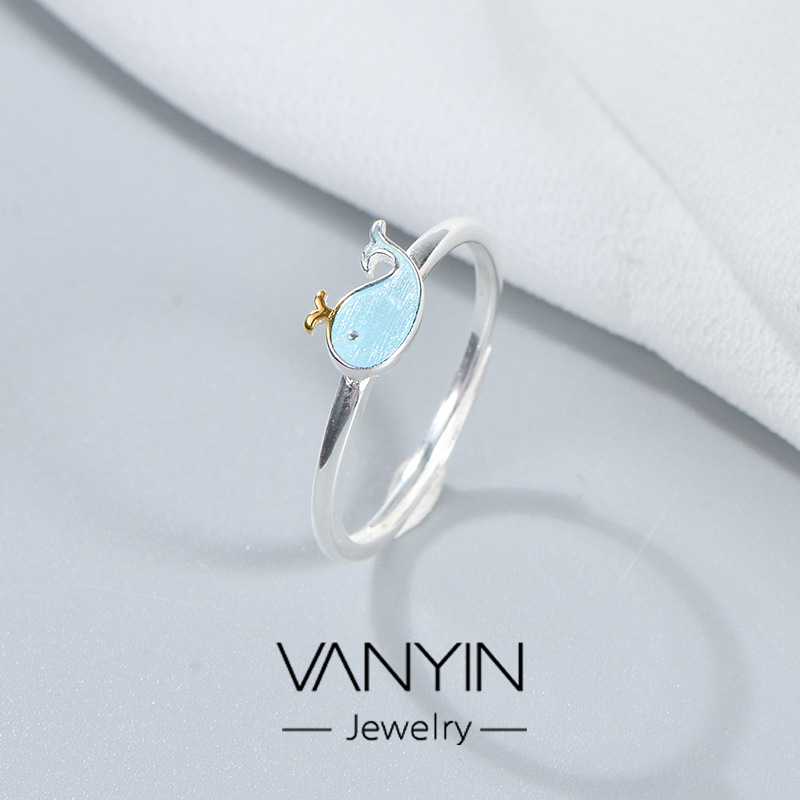 Emotional original design whale ring S925 Sterling Silver personalized jewelry small and exquisite creative accessories