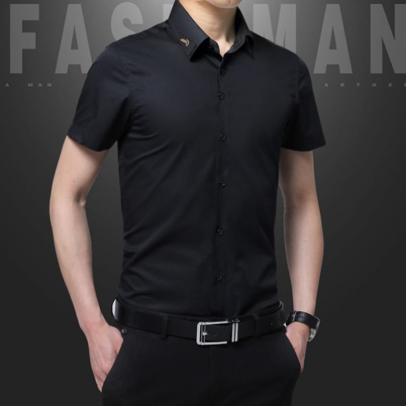 HNB mens new spring and summer mens business casual shirt short sleeve slim fit fashion 1701 overseas Chinese voice fashion