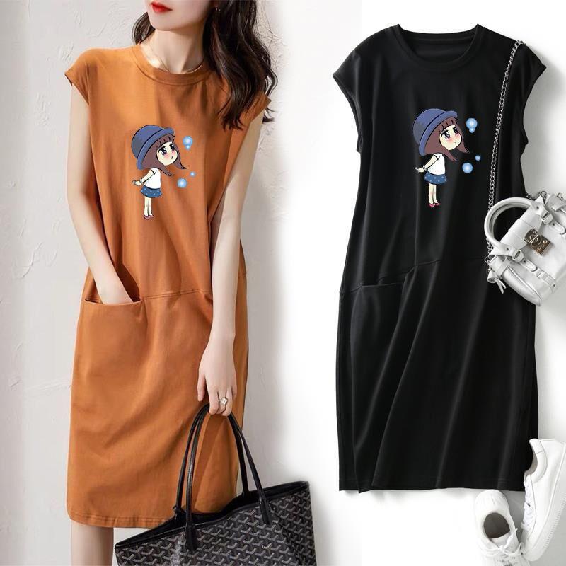 新款2021流行夏季连衣裙宽松显瘦胖妹妹大码无袖卡通印花过膝长裙