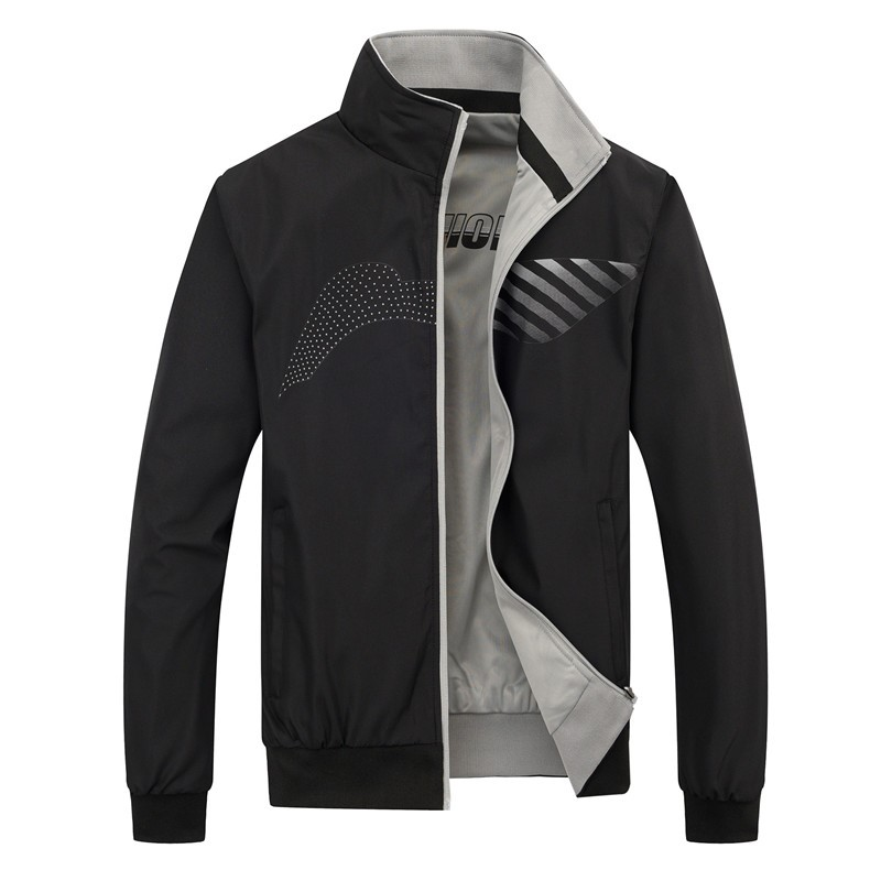 Jacket mens double-sided jacket spring and autumn youth casual thin baseball uniform trend large size mens sports shirt