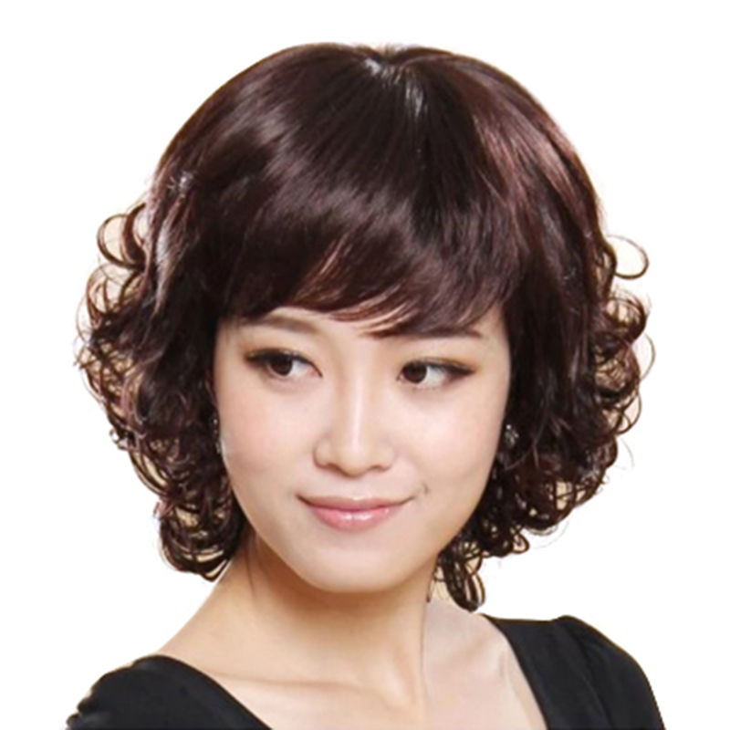 Middle aged and old age wig female long curly hair fashionable mother wig set lifelike natural middle aged women