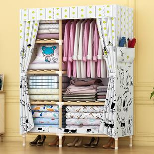 简易衣柜组装 收纳柜卧室出租房用现代简约衣橱 实木布衣柜家用拆装
