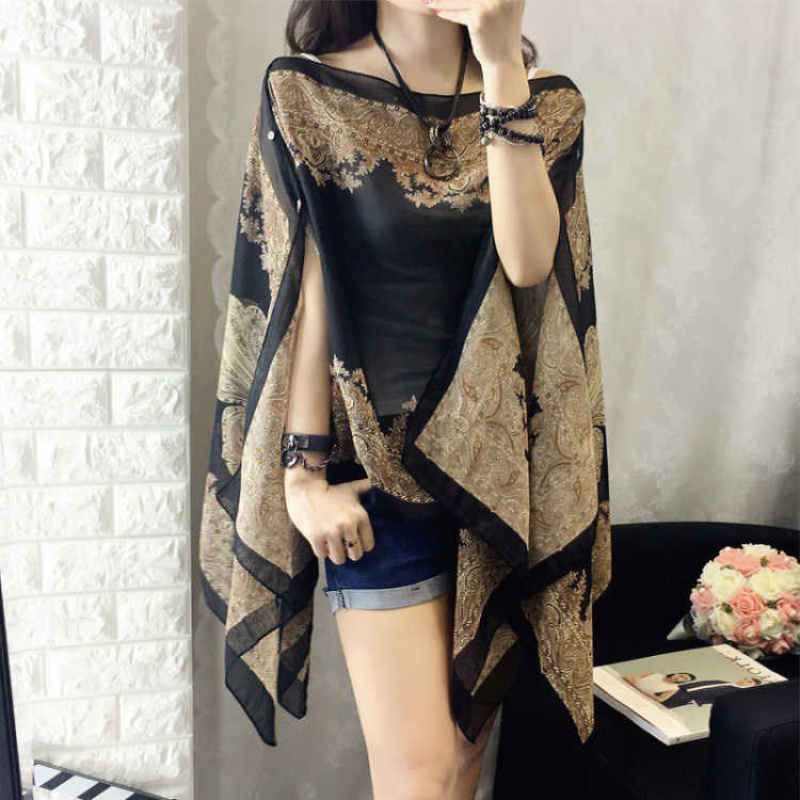 Large womens summer short sleeve loose thin Cape Cape chiffon shirt bat sleeve print irregular top women