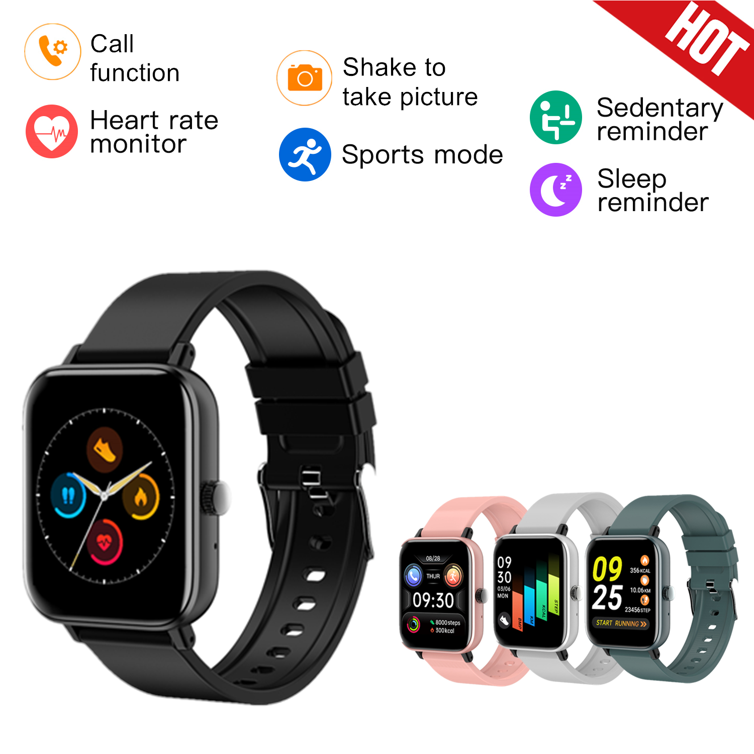 Smart Watch Men Fitness Trackers Heart Rate call function in
