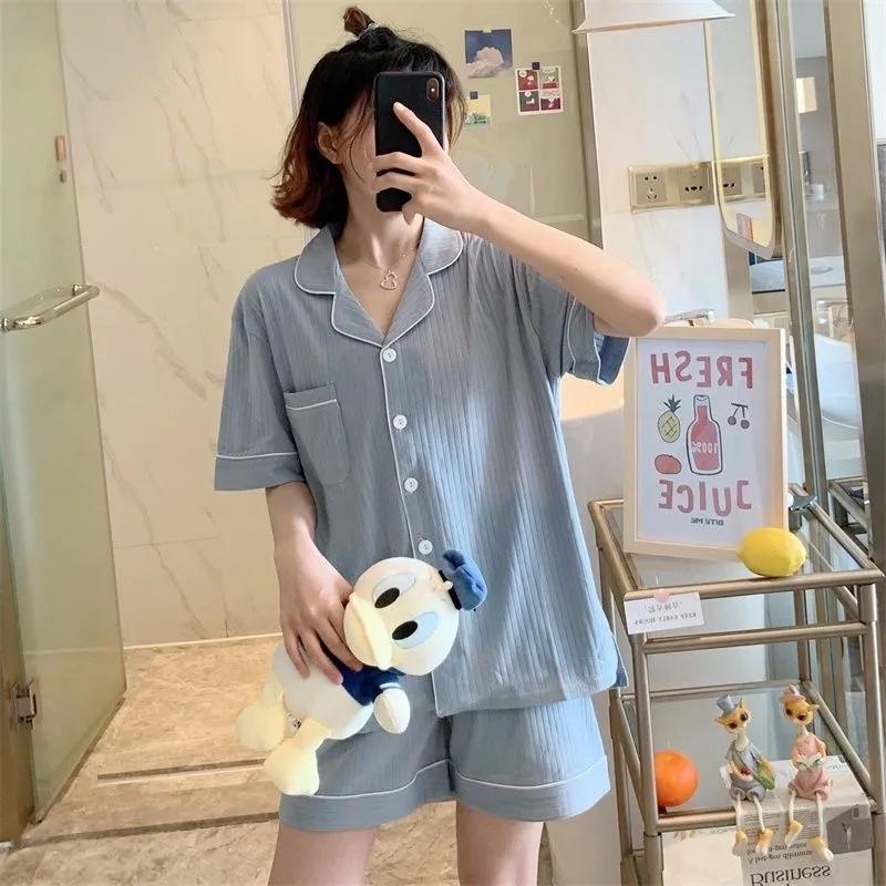 简约INS韩国休闲睡衣女学生短袖短裤韩版秋季新款家居服两件套装