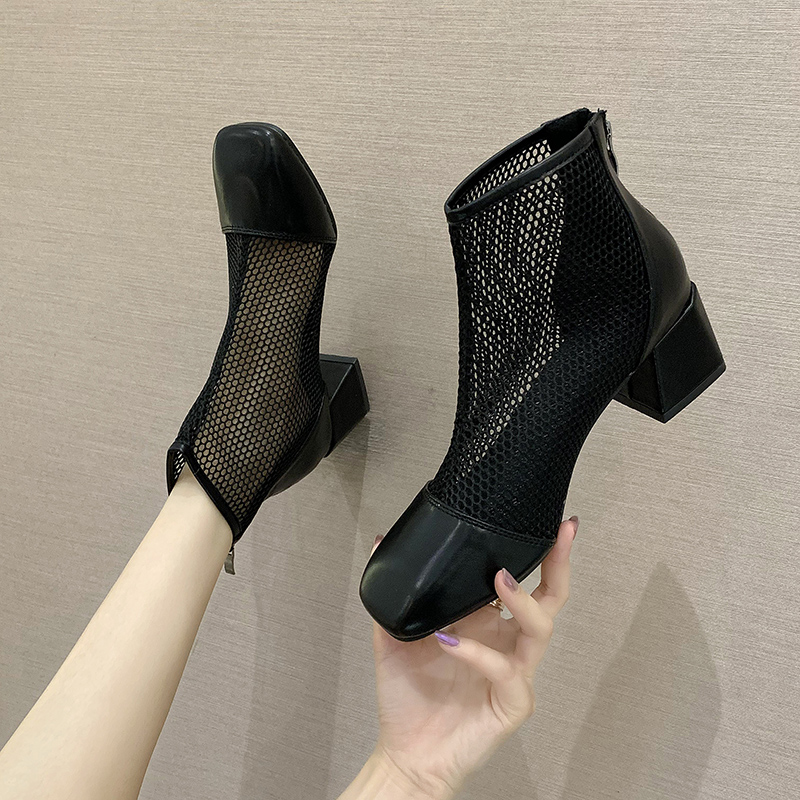 2020 new womens shoes Martin boots short boots mesh hollow air permeability thin thick heel high heels shoes 5cm mesh boots