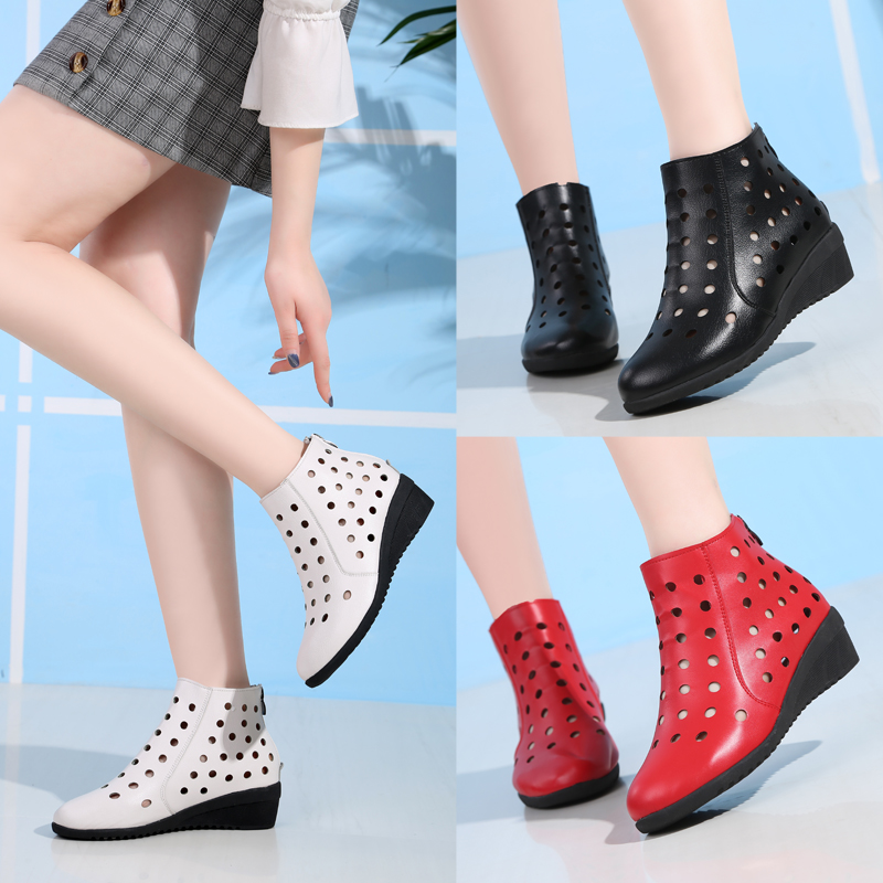 Summer practical hollow air permeability slope heel mother hole cool boots dance shoes short boots middle heel square dancing sandals female