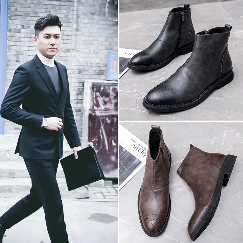 ? Martin boots mens summer mid top leather high top leather shoes breathable side zipper short boots low top British Chelsea boots