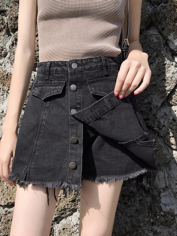 黑色牛仔裤裙女假两件2020年夏季新款时尚短裤高腰a字显瘦短裙裤