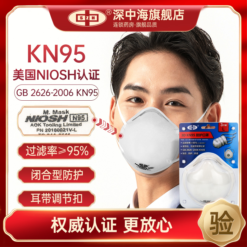 Shenzhonghai kn95 protective mask disposable 3D three-dimensional headwear mask