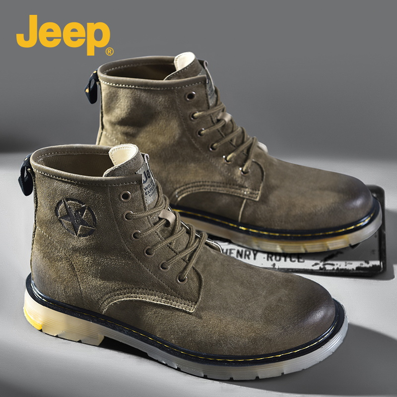 Jeep Martin boots mens winter high top British Leather Mens shoes casual outdoor desert top versatile tooling boots