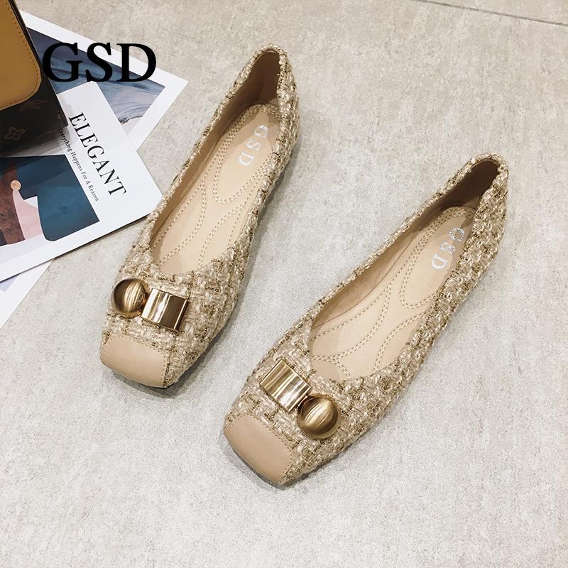 GSD新款女鞋2020年休闲浅口方头百搭平底舒适时尚搭配拼接潮鞋