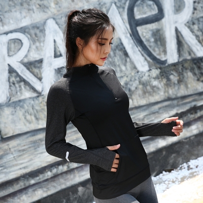 Sichuan Chengdu high collar sports jacket womens long sleeve Yoga Fitness clothes top tight running show thin zipper shirt