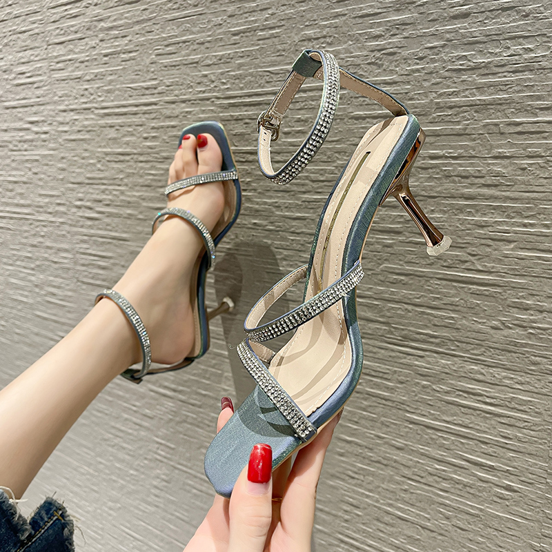 Fashion Net red Korean womens sandals 2021 summer new style square head with square head temperament versatile womens high heels