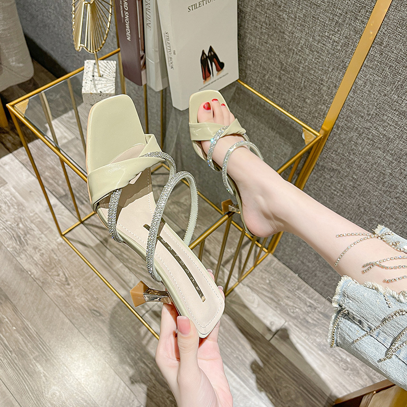 Korean daily leisure thin heel back empty womens sandals 2021 summer new sexy thin diamond square head high heels