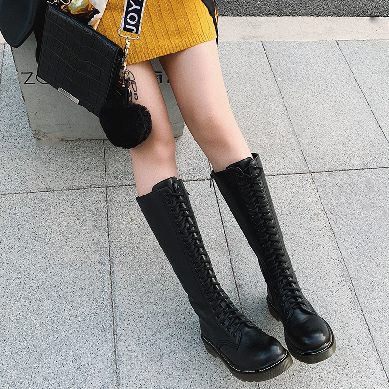 2020 new leather knee length boots womens British style handsome lace up long tube thick bottom high tube Knights Martin boots