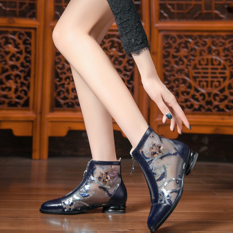 Net boots new fashion in summer, thick bottom and high-rise cool boots, jelly bottom, Meifei ogen yarn chimney, summer style and ankle boots