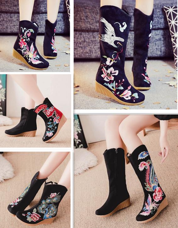 春秋款短筒拉链绣花靴坡跟复古民族靴子高筒单靴圆头女靴布靴包邮